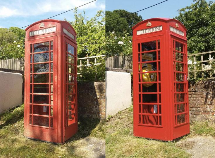 Phonebox before and after